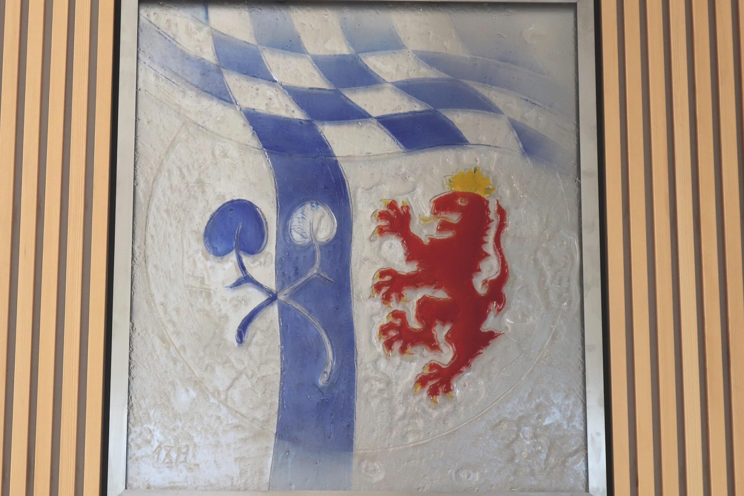 Wappen in Glas großer Sitzungssaal