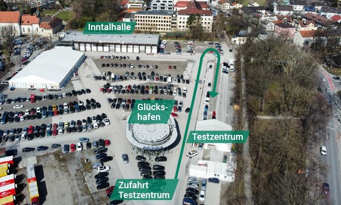 Luftbild Zufhart Testzentrum, Bildrechte: Stadt Rosenheim