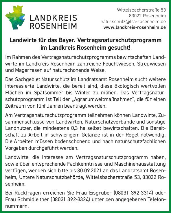 Landwirte für das Bayer. Vertragsnaturschutzprogramm im Landkreis Rosenheim gesucht